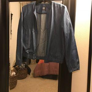Chambray denim bomber jacket